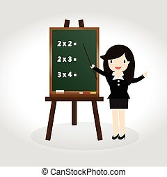Blackboard - Teacher standing next to blackboard during a...
