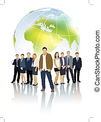 Global team - One businessman in front of a group of people...