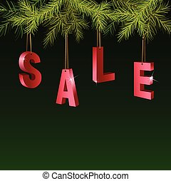 Christmas sale red tags over green background with fir branches