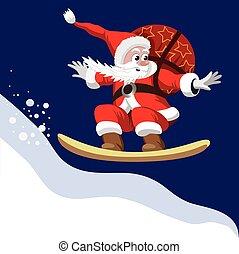 Santa Claus on a snowboard