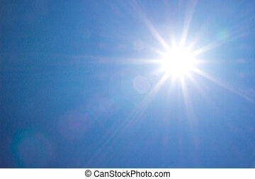 brilhar, sol, em, claro, azul, céu,