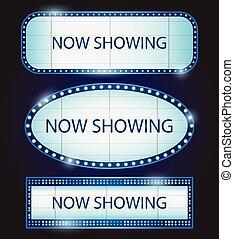 Retro Showtime Sign Theatre cinema Vector illustration -...