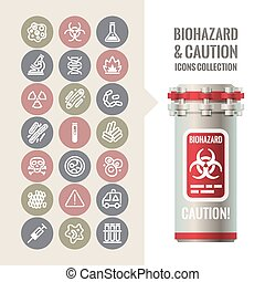 Biohazard and Caution Icons Collection. Isolated on White...