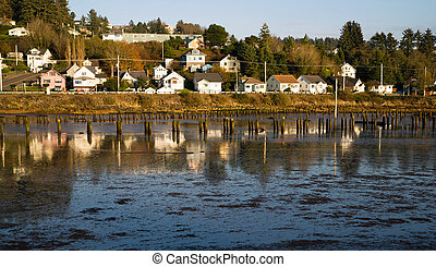 Houses Along Youngs Bay Newhalem HWY Astoria Oregon - Old...