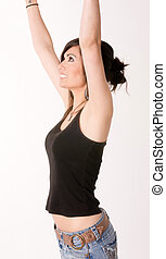 Woman Celebrates Winning Attitude Arms Outstretched Reaching Upw