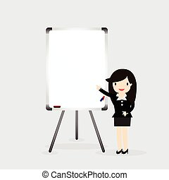 White board - Business woman standing next to white board...