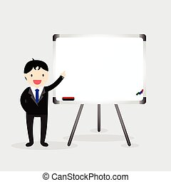 White board - Businessman standing next to white board and...