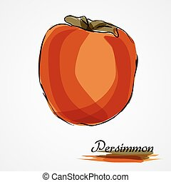 Persimmon, kaki - Hand drawn vector ripe orange persimmon,...