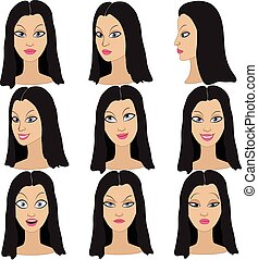 Set of emotions of the same woman - Set of variation of...