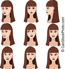 Set of emotions of woman - Set of variation of emotions of...