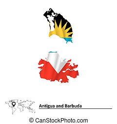 Map of Antigua and Barbuda with flag - vector illustration