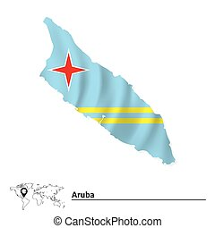 Map of Aruba with flag - vector illustration