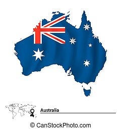 Map of Australia with flag