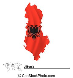Map of Albania with flag