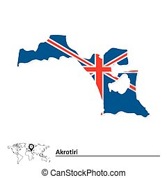 Map of Akrotiri with flag