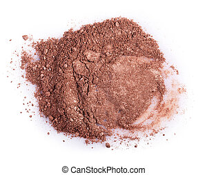powder - Scattered brown powder isolated on a white...