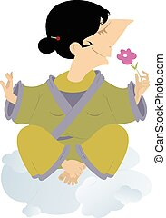 Meditation - Women sits on the clouds and meditates