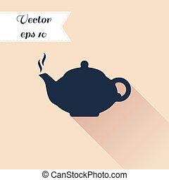 Teapot silhouette icon Flat design - Teapot silhouette icon...