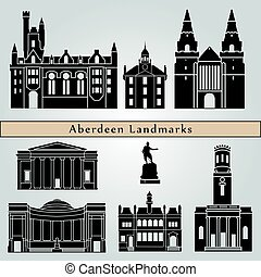 Aberdeen landmarks and monuments isolated on blue background...