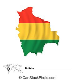 Map of Bolivia with flag