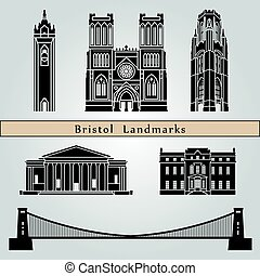 Bristol landmarks and monuments isolated on blue background...