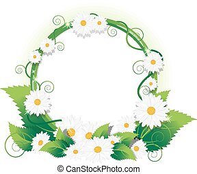 Chamomile frame - Round frame of wild flowers with space for...
