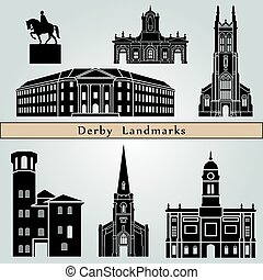 Derby landmarks and monuments isolated on blue background in...