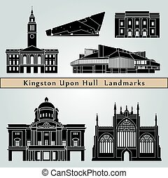 Kingston Upon Hull landmarks and monuments isolated on blue...