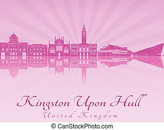 Kingston Upon Hull skyline in purple radiant orchid in...