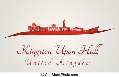Kingston Upon Hull skyline in red and gray background in...