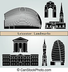 Leicester landmarks and monuments isolated on blue...