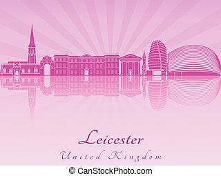 Leicester skyline in purple radiant orchid in editable...
