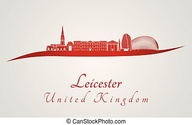 Leicester skyline in red and gray background in editable...