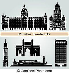 Mumbai landmarks and monuments isolated on blue background...