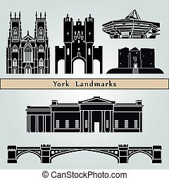 York landmarks and monuments isolated on blue background in...