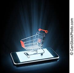 購物, 上, 線, 由于, smartphone,