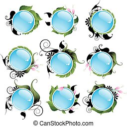 Set of bright vegetable aqua icons - Set of bright icons of...