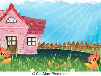 Small rural house - Red house with a tiled roof on a sunny...