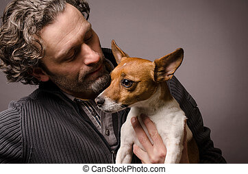 Friends - Man with his Jack Russell Terrier, studioshot