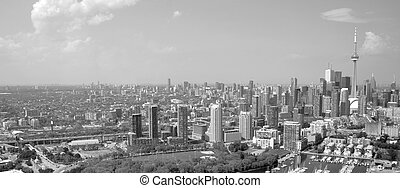 Toronto aerial, black and white - aerial view of downtown...