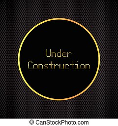 under construction background with chrome metal grid design,...