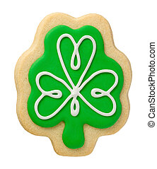 Shamrock Cookie for Saint Patricks Day, isolated on white.