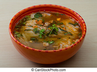 Soup Pho - Vietnamese Soup Pho with spices and herbs