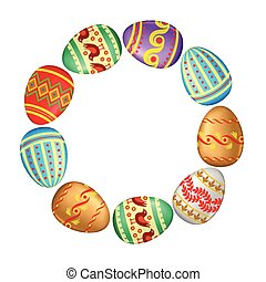 Greeting Easter round frame with decorative eggs