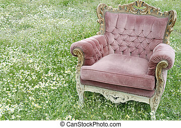 armchair on the daisy field