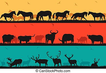 Set of illustrations with horses, bulls and deer.