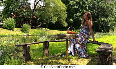 pregnant woman at picnic - happy pregnant woman have picnic...