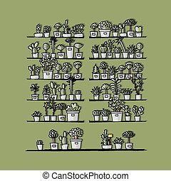 Shelves with plants in pots, sketch for your design Vector...