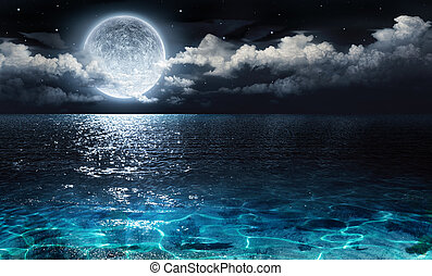 romantic and scenic panorama with full moon on sea to night...