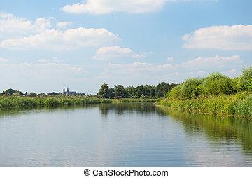 River landscape Holland - River old IJssel in Dutch...